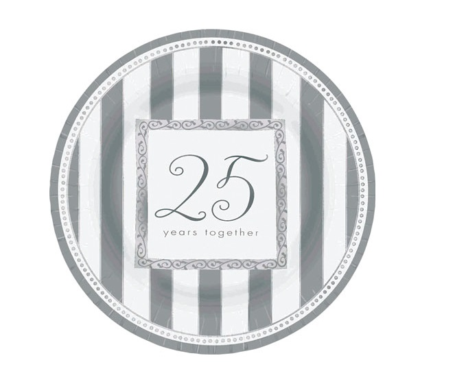 25th Wedding Anniversary 39 Silver Wishes 39 Large Paper Plates 8ct